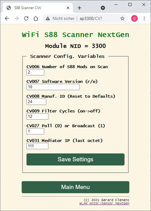 Für den Scanner braucht es nur wenige CVs. Über CV8 kann die Hardware auf Defaults zurückgestellt werden. CV7 ist nur Lesen.