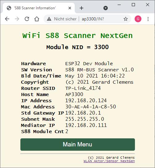 Übersicht aller Hard-und Software-Eigenschaften des S88 Scanners (nur lesen)